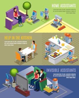 Banners horizontales de robots domésticos isométricos con asistentes robóticos que ayudan a las personas en las tareas del hogar, limpieza, cocina, limpieza