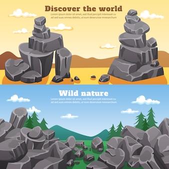Banners horizontales de rocas y piedras