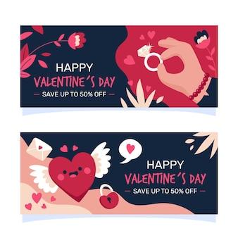 Banners horizontales de san valentín dibujados a mano