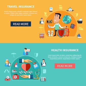 Banners horizontales de seguros médicos y de viaje