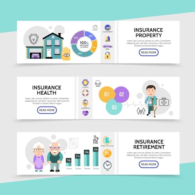Banners horizontales de seguros planos