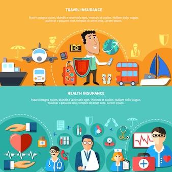 Banners horizontales de seguros de salud y vacaciones