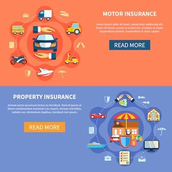 Banners horizontales de seguros de vehículos y casas