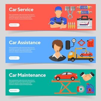 Banners horizontales de servicio de automóvil, asistencia en carretera y mantenimiento de automóvil con mecánico de iconos planos, soporte y camión de remolque. ilustración vectorial aislada