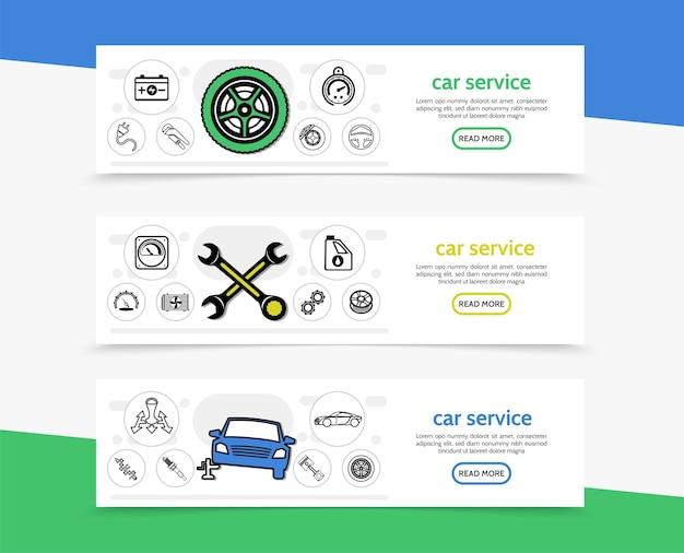 Banners horizontales de servicio de automóvil con batería de neumáticos, velocímetro de automóvil, llaves, radiador de aceite