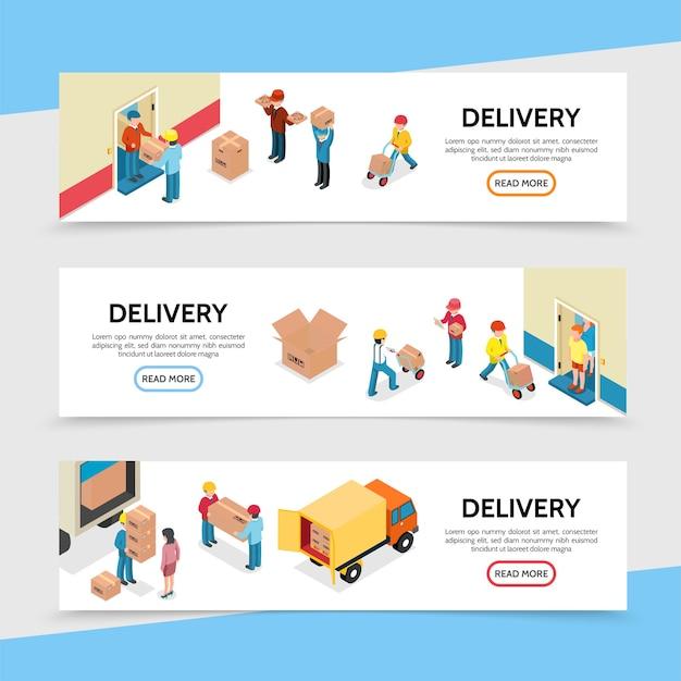 Banners horizontales de servicio de entrega plana