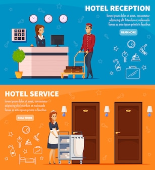 Banners horizontales de servicio de hotel