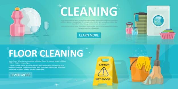 Banners horizontales de servicio de limpieza