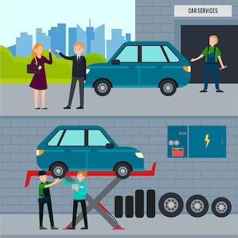 Banners horizontales de servicios de automóviles y neumáticos