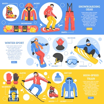 Banners horizontales de snowboard