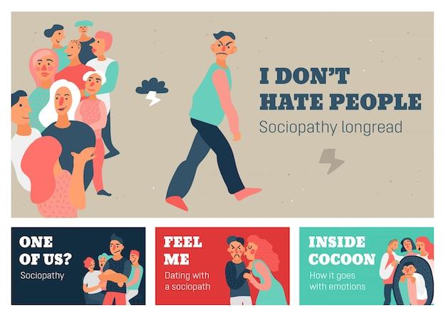 Banners horizontales de sociopatía