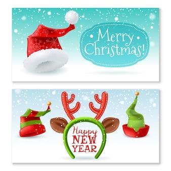 Banners horizontales de sombreros de navidad santa
