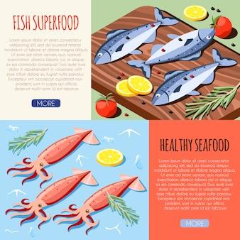 Banners horizontales de superalimento de pescado y mariscos saludables con ilustración de vector isométrica de pescado fresco y calamares
