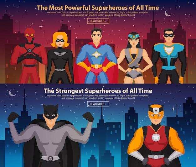 Banners horizontales de superhéroes