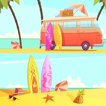 Banners horizontales de surf
