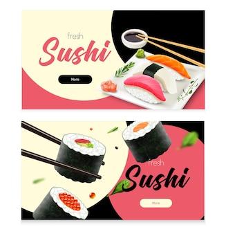 Banners horizontales de sushi fresco realista conjunto aislado ilustración