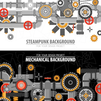Banners horizontales tecnológicos abstractos
