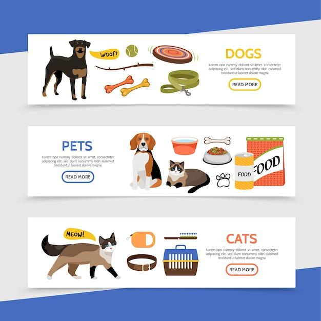 Banners horizontales de la tienda de mascotas plana con juguetes para perros, portador de coche, comida para animales, collar, peine, champú