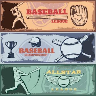 Banners horizontales de torneos de béisbol con trofeo de atuendo deportivo de bateadores