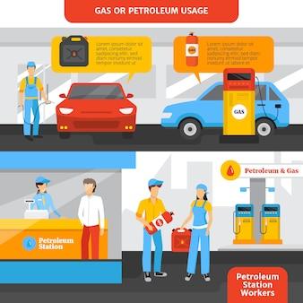 Banners horizontales de trabajadores de gasolineras con personas y autos.