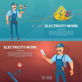 Banners horizontales de trabajo de electricidad colorida