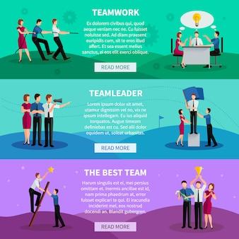 Banners horizontales de trabajo en equipo con personas que trabajan en comando, líder del equipo y mejor equipo