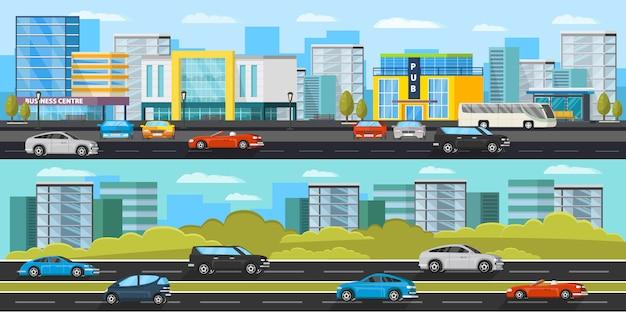 Banners horizontales de tráfico urbano