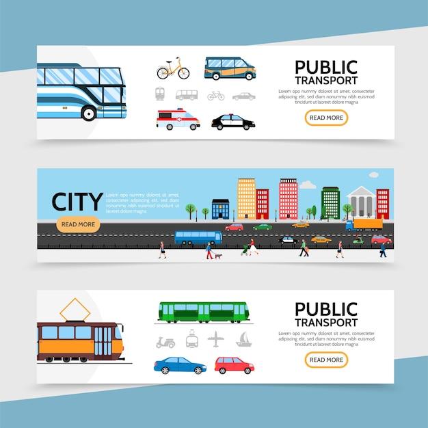 Banners horizontales de transporte público plano.