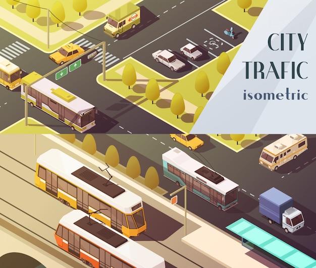 Banners horizontales de transporte con símbolos de tráfico de la ciudad.