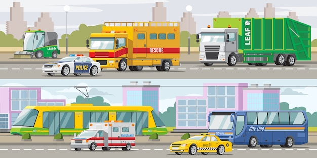 Banners horizontales de transporte urbano