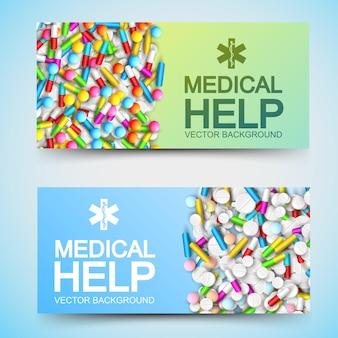 Banners horizontales de tratamiento médico con inscripciones y coloridas pastillas de medicamentos farmacéuticos