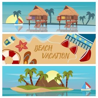 Banners horizontales de vacaciones en la playa