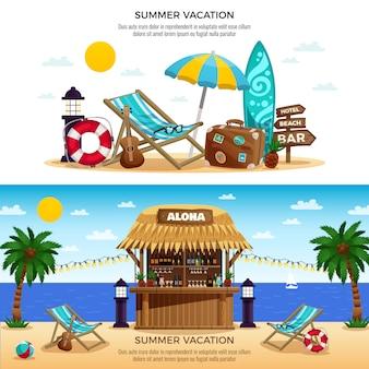 Banners horizontales de vacaciones de verano