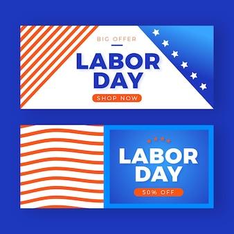 Banners horizontales de venta del día del trabajo