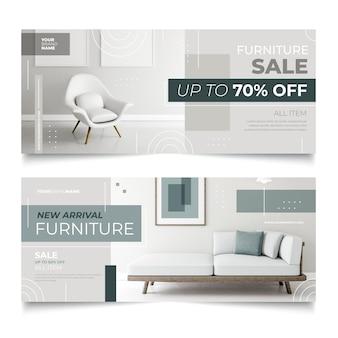 Banners horizontales de venta de muebles con descuentos especiales.