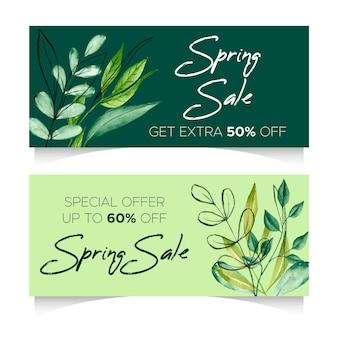 Banners horizontales de venta de primavera acuarela con descuentos