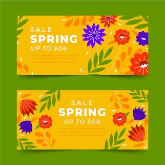 Banners horizontales de venta primavera dibujados a mano