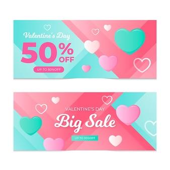 Banners horizontales de venta de san valentín de diseño plano