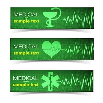 Banners horizontales verdes médicos con símbolos de corazón y serpiente