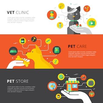 Banners horizontales veterinarios conjunto con veterinario clínica cuidado de mascotas y tienda de mascotas plana