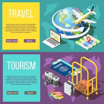 Banners horizontales de viajes y turismo