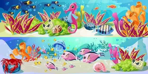 Banners horizontales de vida marina brillante de dibujos animados
