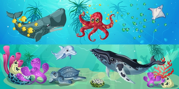 Banners horizontales de vida submarina de dibujos animados