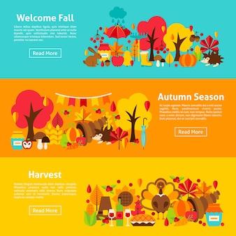 Banners horizontales web de otoño. ilustración vectorial del concepto de otoño.