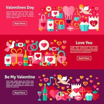 Banners horizontales web de san valentín. ilustración de vector de estilo plano para encabezado de sitio web. objetos de amor.