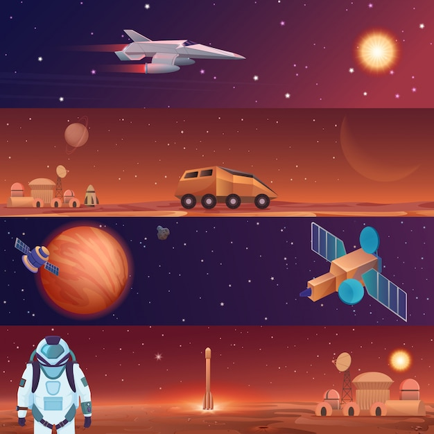 Banners de ilustración vectorial de exploración de naves espaciales de vuelo espacial. marte en el espacio exterior, la galaxia mars rover, el transbordador espacial y la base de la ciudad colonia con astronauta