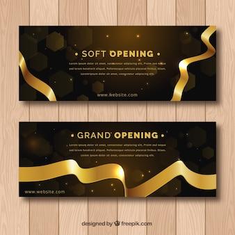 Banners de inauguración negros y dorados