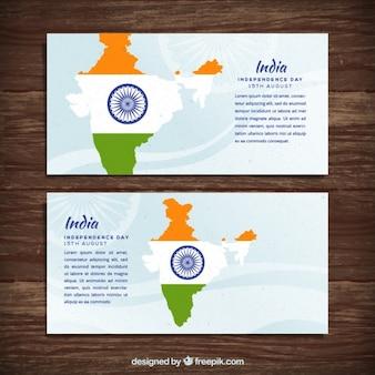 Banners de india con un mapa y símbolo