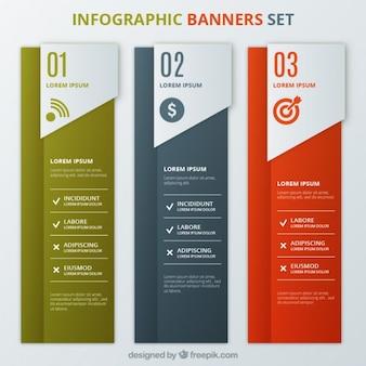 Banners infografía conjunto de plantillas