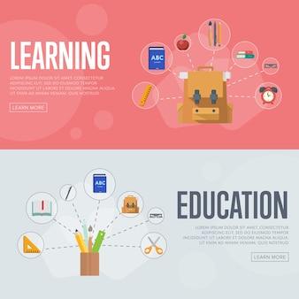 Banners de infografías de educación